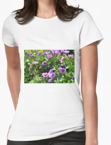 Beautiful spring purple flowers in the park. Womens Fitted T-Shirt