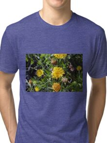 Yellow flowers in the green grass. Tri-blend T-Shirt
