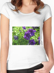 Dark purple flowers natural background. Women's Fitted Scoop T-Shirt
