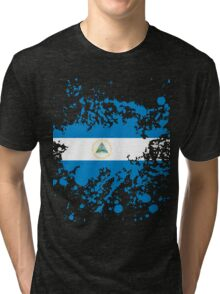 Nicaragua Flag Ink Splatter Tri-blend T-Shirt