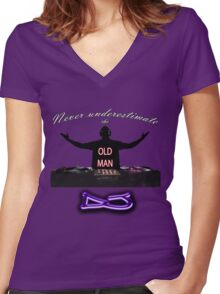 Never underestimate the OLD MAN DJ Women's Fitted V-Neck T-Shirt