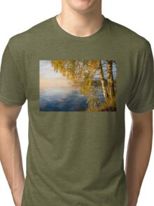 From blue to yellow II (nice morning light on the lake) Tri-blend T-Shirt