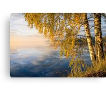 From blue to yellow II (nice morning light on the lake) Canvas Print