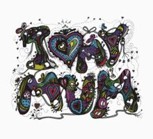 I Love My Mum Multicoloured Aussie Tangle on White Background Kids Tee