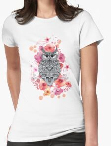 OWL & FLOWERS Womens Fitted T-Shirt