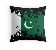 Pakistan Flag Ink Splatter Throw Pillow