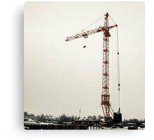yellow crane in winter  Canvas Print