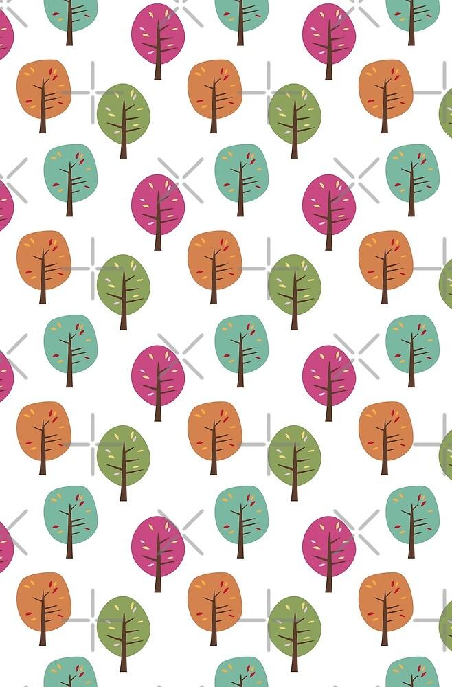 Retro Fall Trees by Lisa Marie Robinson