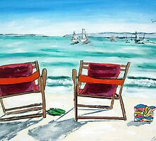 BEACH CHAIR DAY DREAMING by gillsart