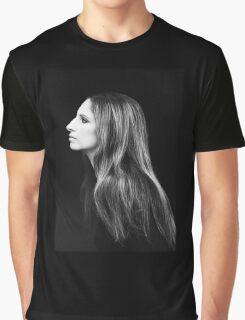 Barbra Streisand Profile Portrait   Mixed Media Graphic T-Shirt