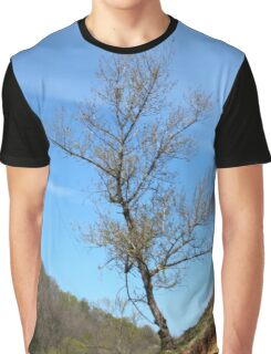 A Barda Tree Hanging on to an Eroding Bank Graphic T-Shirt