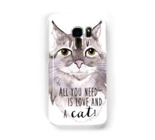 Majestic Meow & Love - watercolor cat with quote Samsung Galaxy Case/Skin