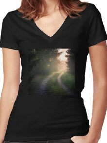 Lonely road (bright summer night) Women's Fitted V-Neck T-Shirt
