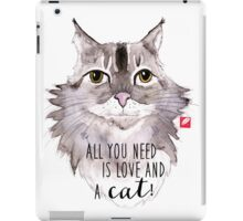 Majestic Meow & Love - watercolor cat with quote iPad Case/Skin