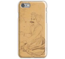 A seated man with paper, signed by Mu'in Musavvir, Persia, Safavid, Isfahan, iPhone Case/Skin