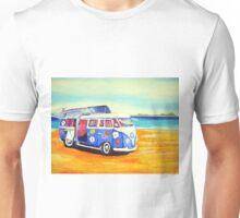 'Flower Power 60's Kombi' at the beach Unisex T-Shirt