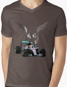 Lewis Hamilton 2016 F1 car driving Mens V-Neck T-Shirt