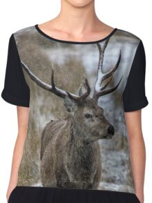 Twelve Point Stag in the Snow Chiffon Top