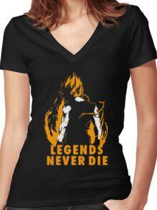 Goku - Legends Never Die Women's Fitted V-Neck T-Shirt