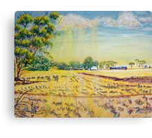 Sun on the stubble at Nunagin Canvas Print