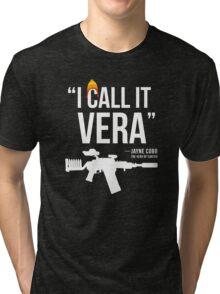 Jayne + Vera (white letters) Tri-blend T-Shirt