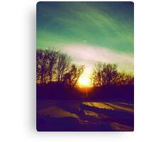 Green Blue Sunset Canvas Print