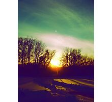 Green Blue Sunset Photographic Print