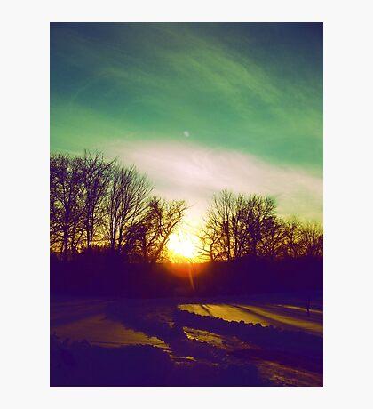 Green Blue Sunset Photographic Print