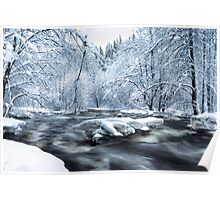 Wintry river rapids Poster