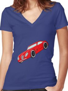 A Butch Red Muscle Car Women's Fitted V-Neck T-Shirt