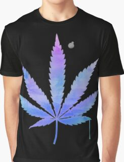Water Colour Marijuana Leaf Graphic T-Shirt
