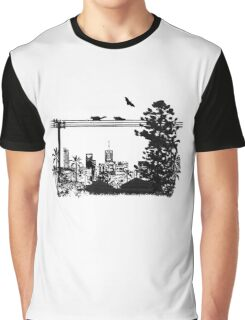 Brisbane Evening Skyline Graphic T-Shirt