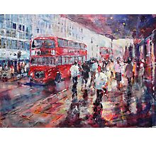 Red London Busses & Shoppers Photographic Print