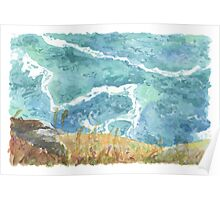 Watercolour Coastal Scene Poster