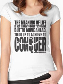 Meaning of Life (CONQUER Arnold Iconic Black) Women's Fitted Scoop T-Shirt