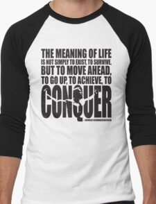 Meaning of Life (CONQUER Arnold Iconic Black) Men's Baseball ¾ T-Shirt