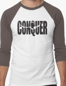 CONQUER (Arnold Iconic Black) Men's Baseball ¾ T-Shirt