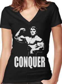 CONQUER (Arnold Single Bicep Flex) Women's Fitted V-Neck T-Shirt