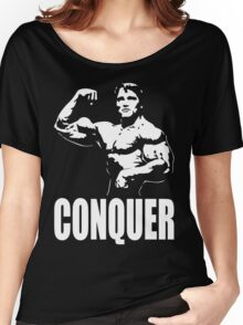 CONQUER (Arnold Single Bicep Flex) Women's Relaxed Fit T-Shirt