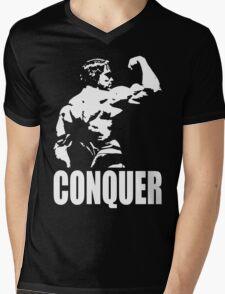 CONQUER (Arnold Back Bicep Flex) Mens V-Neck T-Shirt