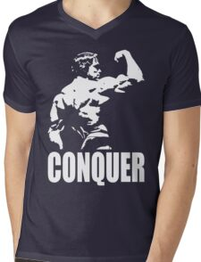 CONQUER (Arnold Back Bicep Flex) Mens V-Neck T-Shirt