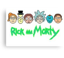 Rick and Morty Pixel Characters  Canvas Print