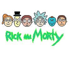 Rick and Morty Pixel Characters  Photographic Print