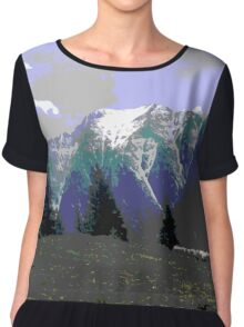 Mountain Landscape Photo Edit Chiffon Top