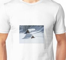Cabins under snow Unisex T-Shirt