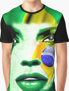 Brazil Flag Girl Portrait Graphic T-Shirt