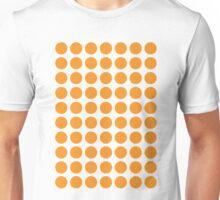 Circles 70s Orange on White Unisex T-Shirt