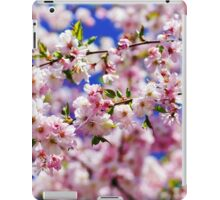 Beautiful pink flowers of cherry on blue sky background, april in France iPad Case/Skin
