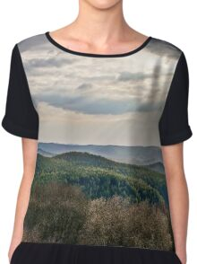 Beautiful sunset with sun beams through the clouds over the mountains, vOSGES, aLSACE, fRANCE Chiffon Top