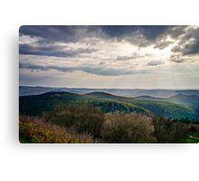 Beautiful sunset with sun beams through the clouds over the mountains, vOSGES, aLSACE, fRANCE Canvas Print